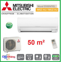 Mitsubishi Mural Inverter - Gamme Essentiel - MSZ-HJ50VA + MUZ-HJ50VA (5.0 kW)